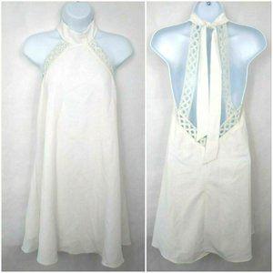 Lulus White High Neck Lace Trim Dress